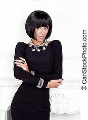 dame, dress., schoenheit, brünett, modern, styling, kurzes haar, hinten, frau, posierend, sexy, schwarz, wall., mode, style., mode