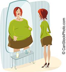dame, en, haar, dik, reflectie