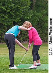 dame, enseignement, pro, golfeur, golf