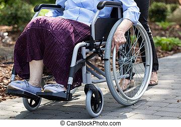 dame, fauteuil roulant, parc