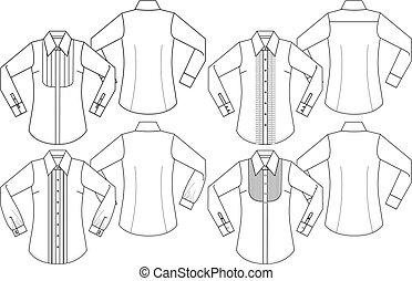 dame, formeel, lang, mouwen, overhemden