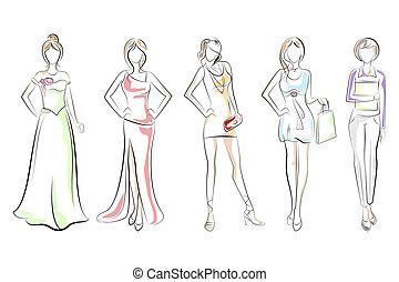 dame, forskellige, klæde