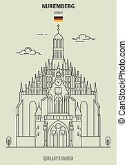 dame, (frauenkirche), église, germany., repère, icône, nuremberg, notre