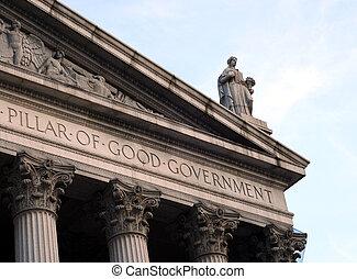 dame gerechtigheid, op, de, dak, van, een, hofhuis