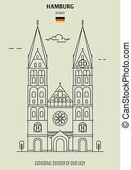 dame, hambourg, église, cathédrale, germany., repère, icône, notre
