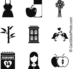 Dame happiness icons set, simple style