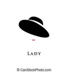 dame, hat.