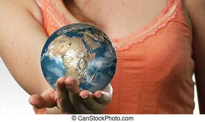 dame, het in evenwicht brengen, een, globe, in, haar, hand