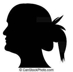 dame, hoofd, silhouette