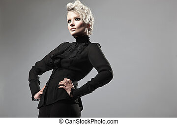dame, in, black , het poseren