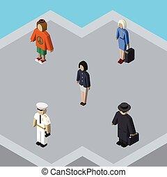 dame, isometric, sæt, elements., værtinde, seaman, objects., seaman, det medtar, også, vektor, menneske, kvinde, pige, anden
