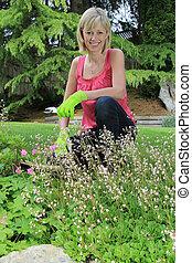 dame, jardinier, heureux