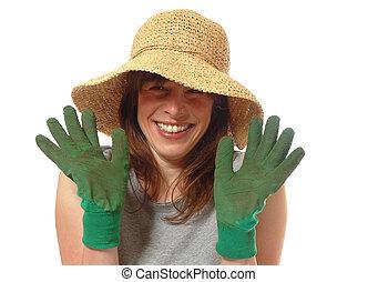 dame, jeune, jardinier