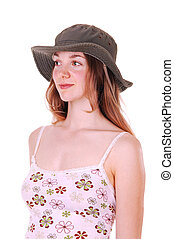 dame, jonge, hat.