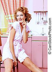 dame, keuken
