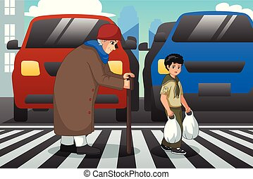 dame, krydsning, gamle, dreng, illustration, hjælper, gade