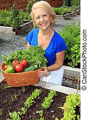dame, légume, jardinier