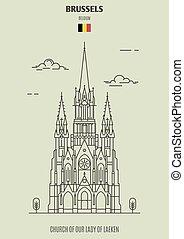 dame, laeken, église, repère, belgium., bruxelles, icône, notre