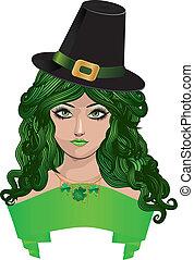 dame, leprechaun, zwarte hoed