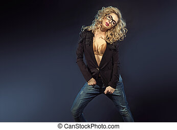 dame, lunettes soleil, sensuelles, blonds