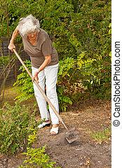 dame, mûrir, jardinier
