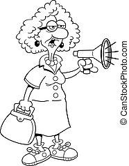 dame, megaphone., vieux, dessin animé