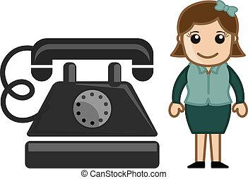 dame, met, oud, retro, telefoon, vector