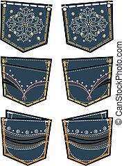 dame, mode, jeans, gesäßtasche, design