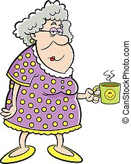 dame, mug., oud, spotprent, vasthouden