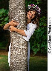 dame nature, étreindre, arbre