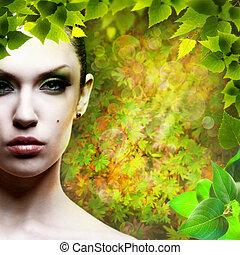 dame, nature., abstact, natürlich, hintergruende, mit, schoenheit, weibliche , porträt