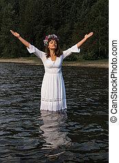 dame nature, dans, eau