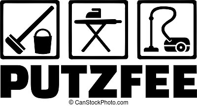 dame, nettoyage, icônes