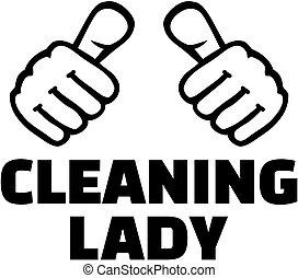 dame, nettoyage, pouces