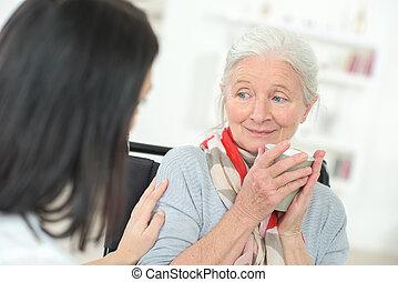 dame, oud, kletsende, arts