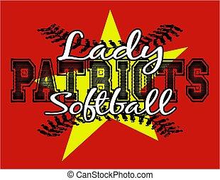 dame, patriotes, softball
