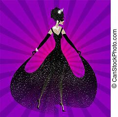 dame, robe, noir