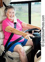 dame, rv, bestuurder, senior