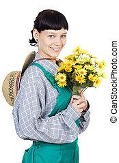 dame, séduisant, jardinier