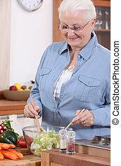 dame, salad., oud, vervaardiging