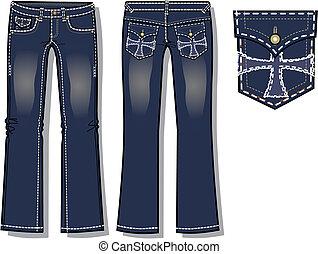 dame, schnitt, stiefel, jeans