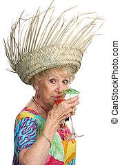 dame, senior, cocktail, slokjes