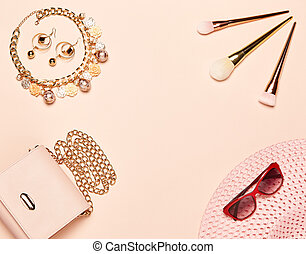 dame, set, mode, accessoires