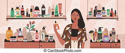 dame, shop, character., kosmetikker, kvindelig,...