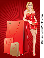 dame, shoppen , rood