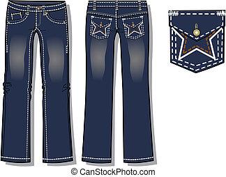 dame, stiefel, schnitt, jeans