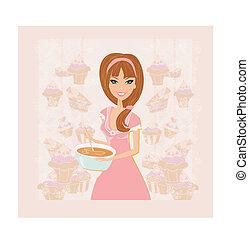 dame, taart, mooi, het koken