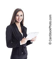dame, tablet, zakelijk, ontdekkingsreis, succesvolle , jonge, samenwerking, gebruik, aantrekkelijk