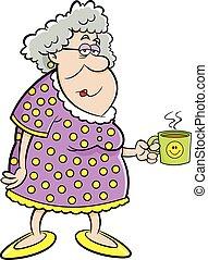 dame, tenue, vieux, dessin animé, mug.