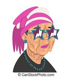 dame, vêtements, vecteur, femme, lunettes soleil, vieux, ...